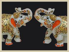 Emboss Elephant Marble Sculpture