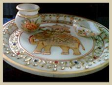 Marble Pooja Plate Handicrafts